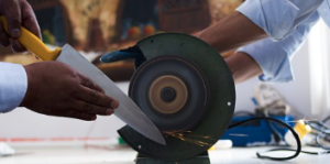 A knife being sharpened
