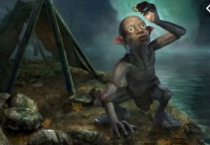 Gollum admiring the ring of power